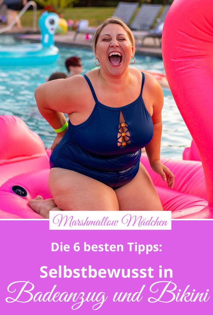 Auch dicke Frauen kühlen sich im Sommer gerne im Wasser ab. Aber sie haben einen (vermeintlichen) Feind: den Badeanzug. Er überlässt nichts der Fantasie: Die Hälfte des Körpers ist nackt, die andere von eng anliegendem, elastischen Stoff bis zur Absurdität zur Schau gestellt. Marshmallow Mädchen gibt dir sechs Gedankenanreize, damit du dich selbstbewusst in Badeanzug und Bikini zeigen kannst - trotz Übergewicht.