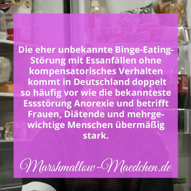 Die eher unbekannte Binge-Eating-Störung mit Essanfällen ohne kompensatorisches Verhalten kommt in Deutschland doppelt so häufig vor wie die bekannteste Essstörung Anorexie und betrifft Frauen, Diätenden und mehrgewichtige Menschen übermäßig stark. | Zitat | Body Positivity und Selbstliebe | Marshmallow Mädchen